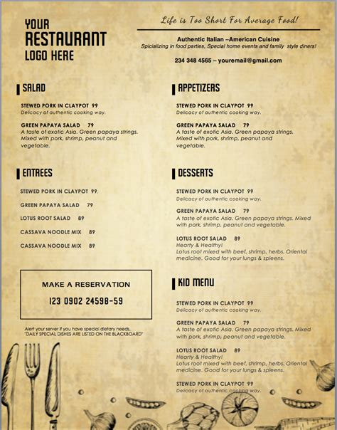 design templates menu templates wedding menu food