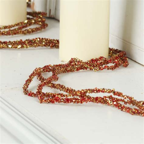 gold bead garland and gold sparkling bead and glitter garland on sale