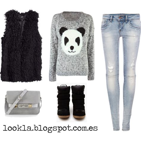 White Panda Jumper Set 2in1 panda sweater fur vest and sneakers image 1322093 by nastty on favim