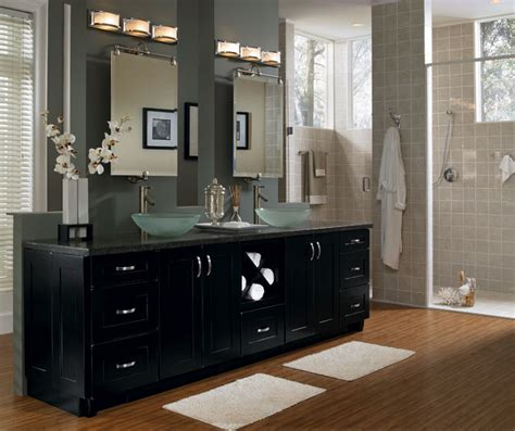 contemporary black bathroom cabinets schrock