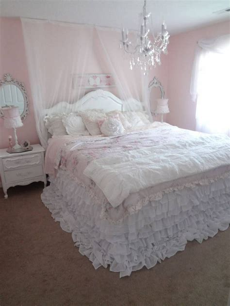 girly beds cozy ruffled bed peaceful for the home pinterest