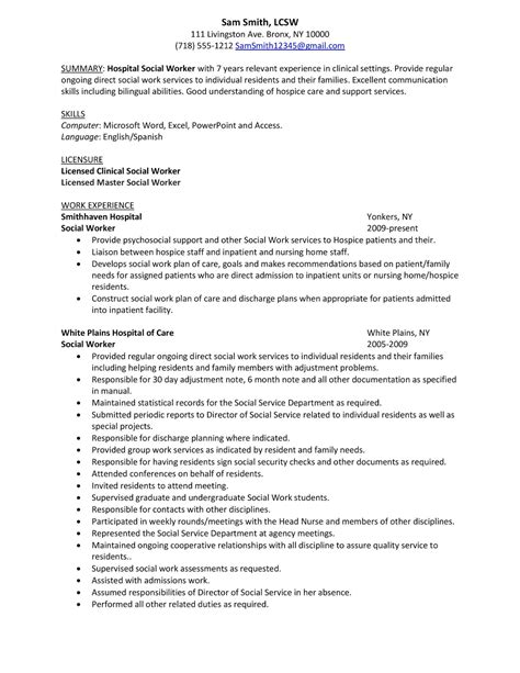 Social Work Resumes by Summary Sle Hospital Social Work Resume Exles With Licensed Clinical Social Worker Social