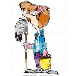 cartoon lady spring cleaning by toonaday 1696