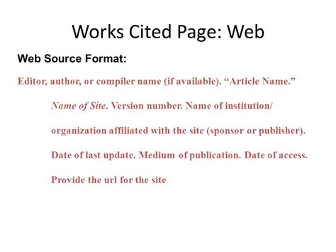 sle of works cited page mla formatting ppt