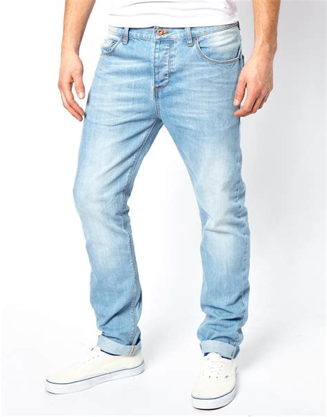 light blue wash jeans mens asos slim jeans in light wash in blue for men lyst