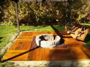 Floating pallet deck pallet swing bench and fire pit all