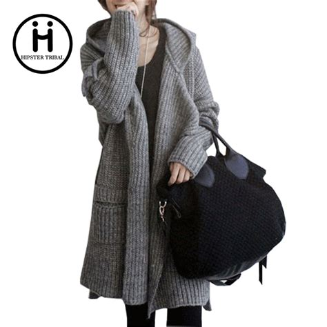 autumn and winter thick sweater cardigan coat korean version of coarse lines hooded