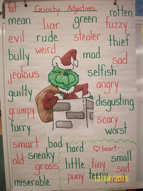 words that describe christmas how the grinch stole grinchy adjectives mrs didonato s grade 1 2 class