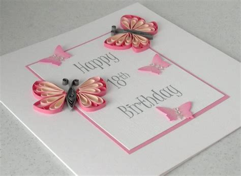 Handmade 18th Birthday Cards - 18th birthday card quilled handmade can be made for any