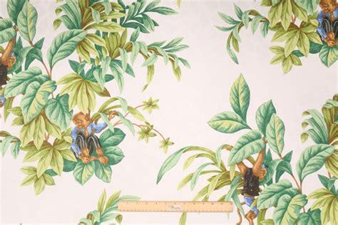 jungle curtain fabric monkey jungle printed cotton jacquard drapery fabric in white