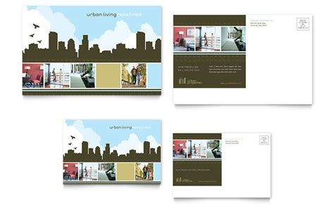 Urban Real Estate Postcard Template Design Real Estate Postcards Templates Free