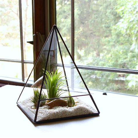 desk planter terrarium glass pyramid planter with air plant diy kit desk