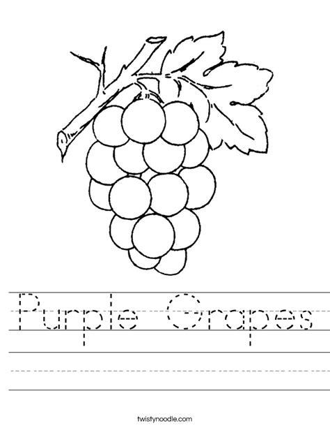 Purple Grapes Worksheet Twisty Noodle Color Purple Worksheets For Preschool