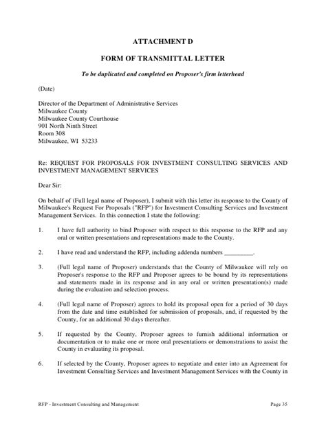 Transmittal Letter With Attachments Request For To Provide Investment Consulting