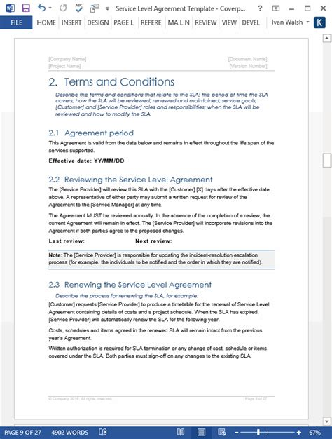 service level agreement template download 2 ms word 3