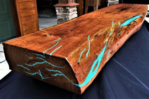 live edge table with turquoise inlay 31 best turquoise images on birch wood crafts