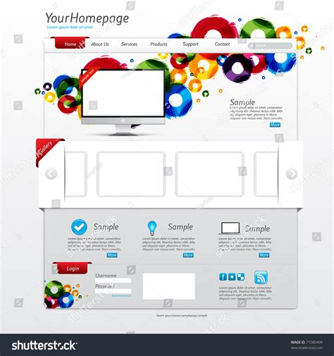 Colorful Website Template With Clean Modern Design And Gallery Slider Stock Vector Illustration Colorful Website Templates