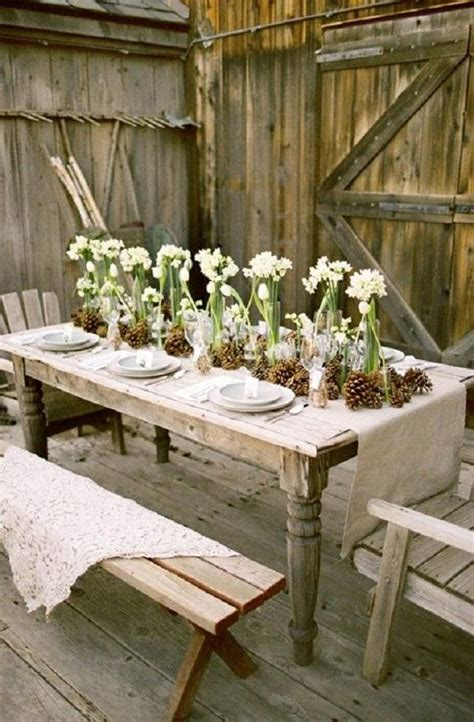 rustic wedding table ideas with burlap pinecones and