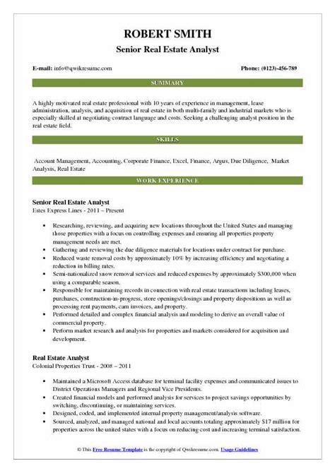 Real Estate Resume Exle
