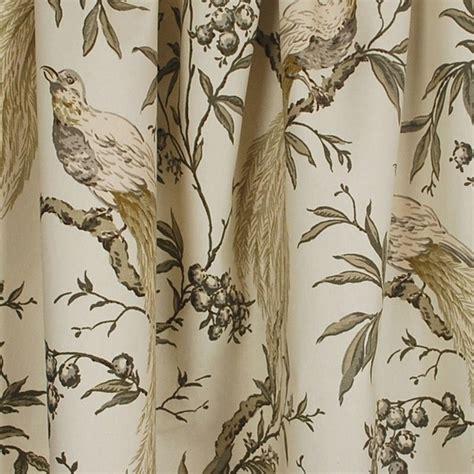 bird drapery fabric roberta winter floral bird grey fabric traditional