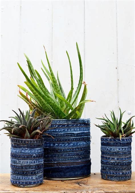 Recycled Planter by How To Make A Gorgeous Recycled Jean Planter Pillar Box Blue