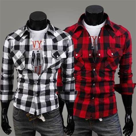 Termurah 2022 Putih Kombi Kotak Merah Kemeja Pria Katun Put baju nilai 3 newhairstylesformen2014