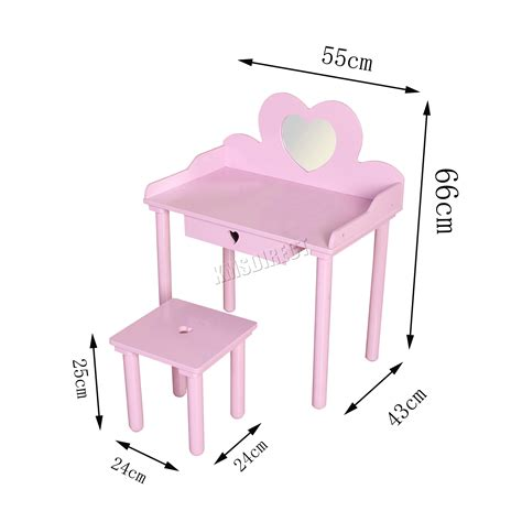 vanity set girls makeup dressing table stool mirror teen foxhunter kids girls dressing table stool set makeup