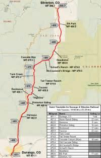 silverton colorado map durango and silverton narrow railroad route map