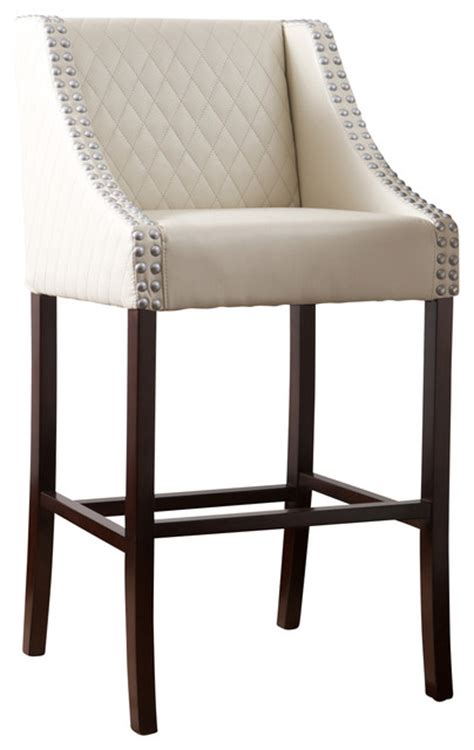 Ivory Leather Bar Stools by Filton Quilted Leather Counter Stool Ivory
