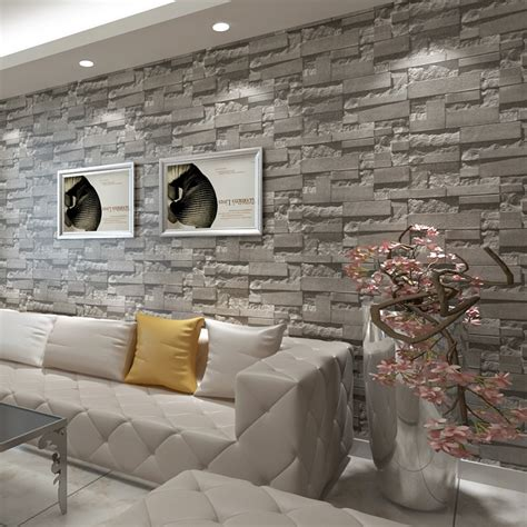 Living Room Wallpaper 3d Background by Stacked Brick 3d Wallpaper Modern Wallcovering Pvc
