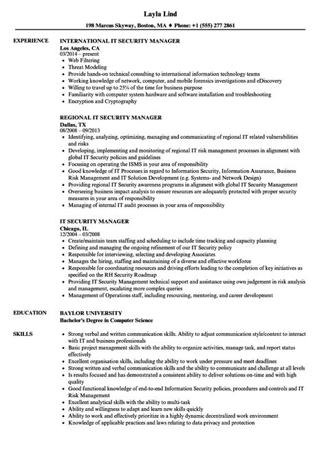 security manager resume format it security manager resume sles velvet