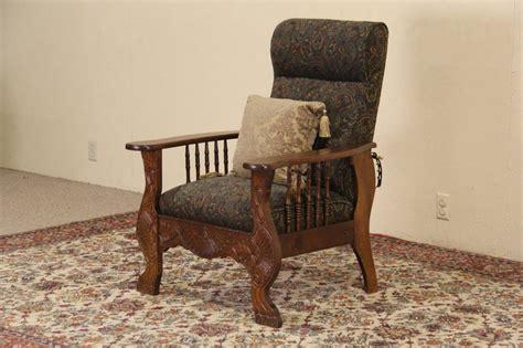 old recliner morris chair 1900 antique oak adjustable recliner green
