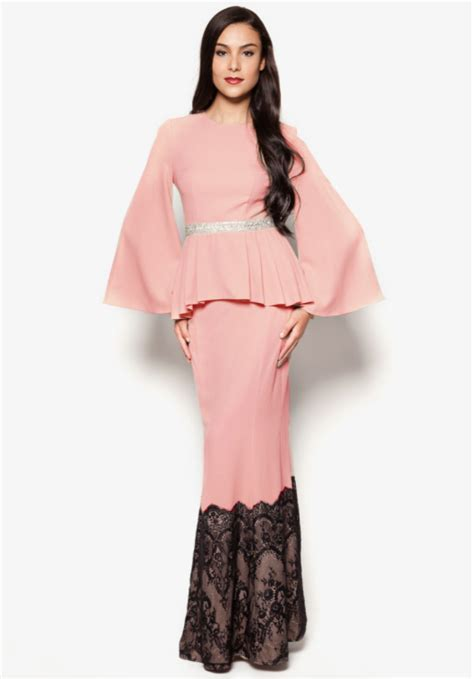 Baju Wide Top Rt 2 pieces wide sleeve peplum top with lace mermaid skirt dress shopping ezytred malaysia