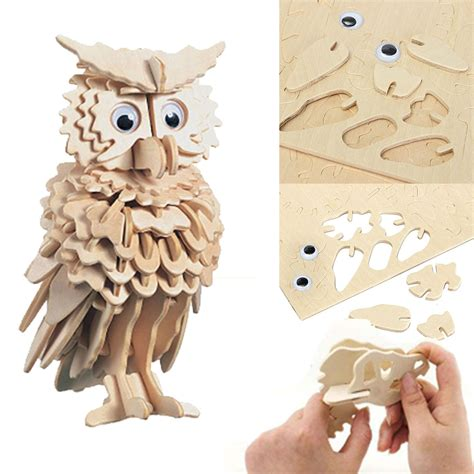 3d Wooden Shape 3d wooden owl puzzle jigsaw children pre cut