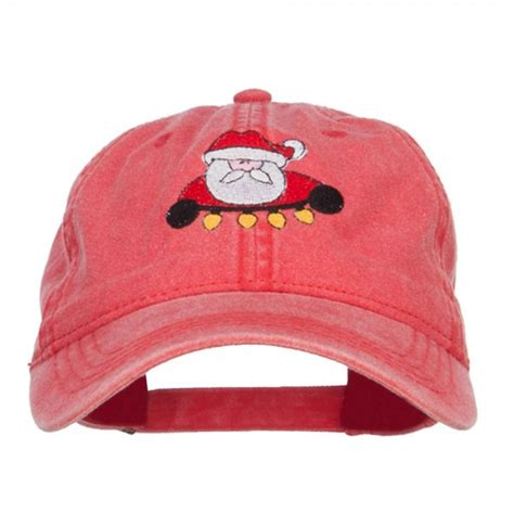 embroidered cap red santa with christmas lights cap