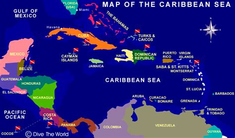 dive the world caribbean sea map dive the world