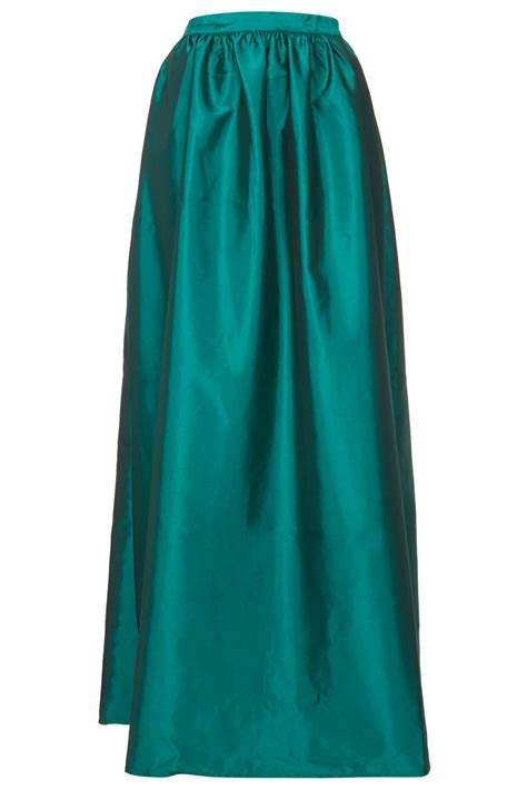 topshop green satin maxi skirt in green lyst