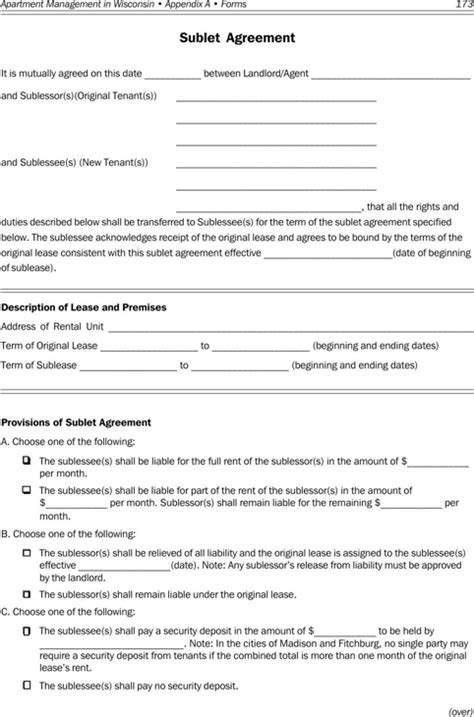 Download Wisconsin Rental Agreement For Free Formtemplate Wisconsin Residential Lease Agreement Template