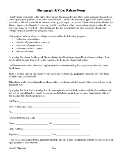 photo release form legalforms org