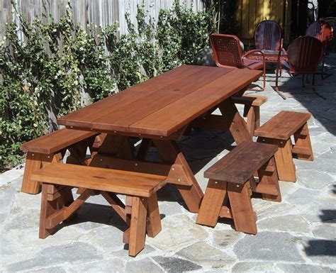 picnic table with separate benches large wooden picnic table custom wood picnic table kit