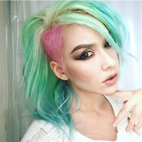 mint green hair color best 25 blue and pink hair ideas on