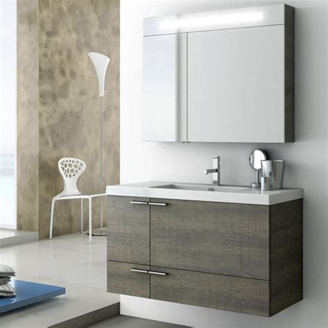Grey Bathroom Vanity Shop Nameeks New Space Grey Oak Senlis Undermount Single Sink Bathroom Vanity With Solid Surface