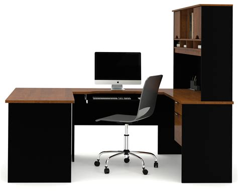 bestar innova u desk with hutch in white and antigua innova u shaped workstation kit in tuscany brown black