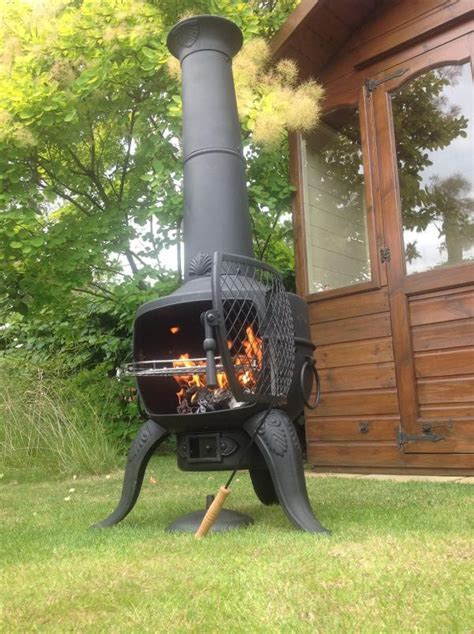 large tia steel and cast iron chimenea barbeque in bronze
