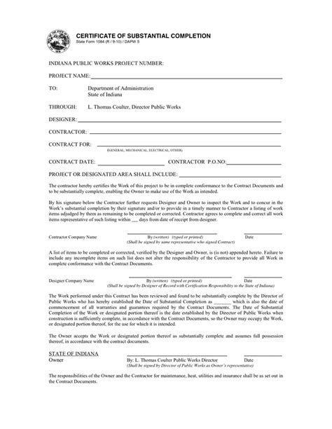 certificate of substantial completion template certificate of substantial completion alberta template