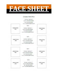 face sheet template free business templates