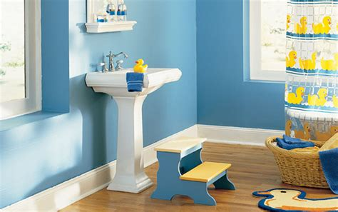 Kids Bathroom Paint Ideas by Amazing White Pedestal Sink On Wood Floors Also Blue