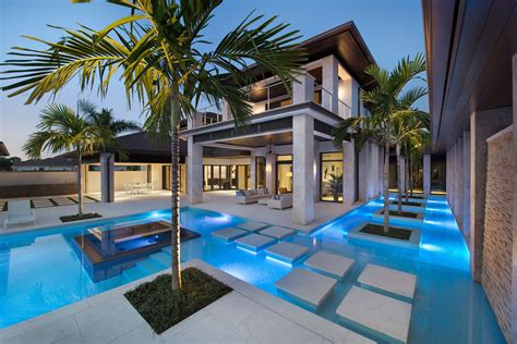 luxury pool house designs custom dream home in florida with elegant swimming pool