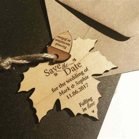 Autumn Wedding Invitations by Autumn Leaf Hanging Wood Save The Date Leaves And Weddi