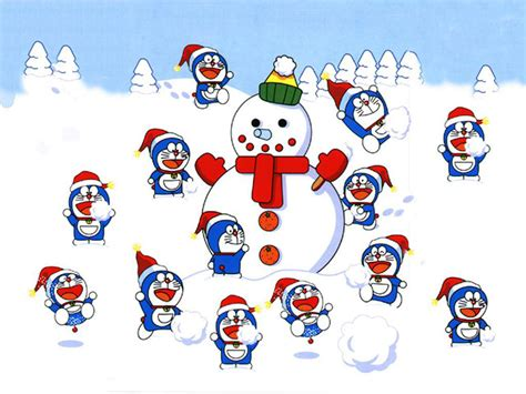 wallpaper doraemon banyak doraemon and snowman hd wallpaper animation wallpapers